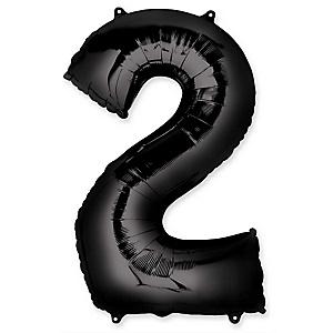"Black - ""2"" Shaped - Mylar Balloon - 34"""