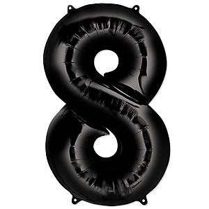 "Black - ""8"" Shaped - Mylar Balloon - 34"""