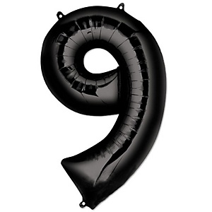"Black - ""9"" Shaped - Mylar Balloon - 34"""
