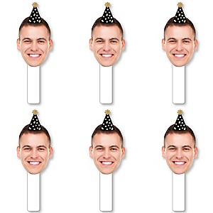 Black and Gold Birthday Hat Fun Face Cutout Paddles - Custom Birthday Party Photo Head Cut Out Photo Booth and Fan Props - Upload 1 Photo - 6 Piece Cut Out Kit