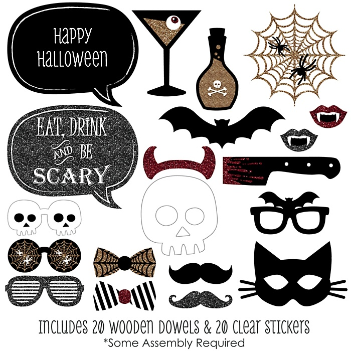 Spooktacular - Eat, Drink and Be Scary - Personalized Halloween Party 20 Piece Photo Booth Props Kit