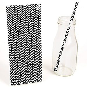 Black Chevron Paper Straws - Everyday Party Do It Yourself - 25 ct