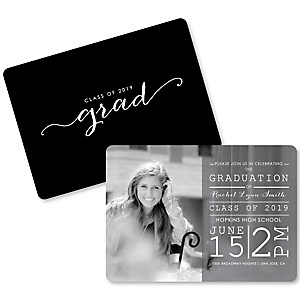 Classic Black and White - Personalized 2019 Photo Graduation Invitations - Set of 12