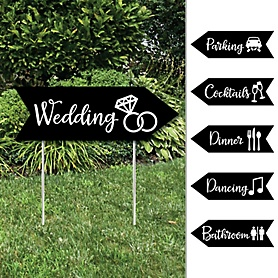 Black and White - Wedding and Receptions Signs - Double Sided Outdoor Yard Sign - Set of 6