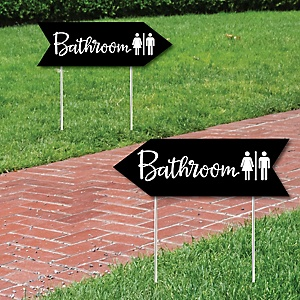 Black Wedding Bathroom Signs - Wedding Sign Arrow - Double Sided Directional Yard Signs - Set of 2 Bathroom Signs