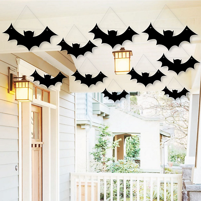 Hanging Black Bats - Outdoor Halloween Hanging Porch & Tree Yard Decorations - 10 Pieces