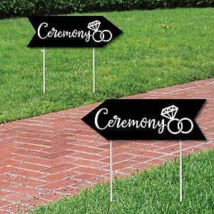 Black Wedding Ceremony Signs - Wedding Sign Arrow - Double Sided Directional Yard Signs - Set of 2 Ceremony Signs