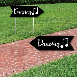 Black Wedding Dance Signs - Wedding Sign Arrow - Double Sided Directional Yard Signs - Set of 2 Dance Signs