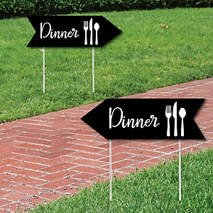 Black Wedding Dinner Signs - Wedding Sign Arrow - Double Sided Directional Yard Signs - Set of 2 Dinner Signs