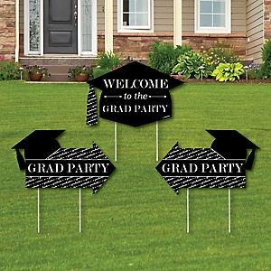 Graduation Cheers - 2 Graduation Party Arrows and 1 Welcome / Thank You Lawn Sign - Double Sided Grad Yard Sign Set - 3 Pieces