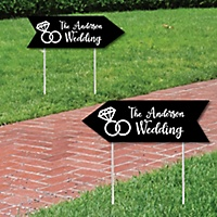 Black Personalized Wedding Signs Sign Arrow Double Sided Directional Yard Set Of 2