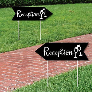 Black Wedding Reception Signs - Wedding Sign Arrow - Double Sided Directional Yard Signs - Set of 2 Reception Signs