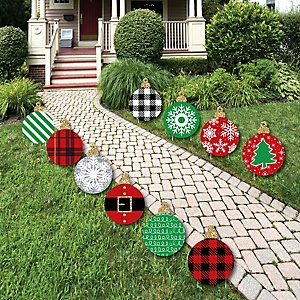 Black, Red and Green Ornaments - Lawn Decorations - Outdoor Holiday and Christmas Yard Decorations - 10 Piece