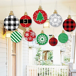Hanging Black, Red and Green Ornaments - Outdoor Holiday and Christmas Hanging Porch and Tree Yard Decorations - 10 Pieces