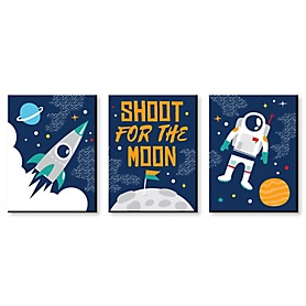 Blast Off to Outer Space - Girl Rocket Ship Nursery Wall Art and Kids Room Decor - 7.5 x 10 inches - Set of 3 Prints