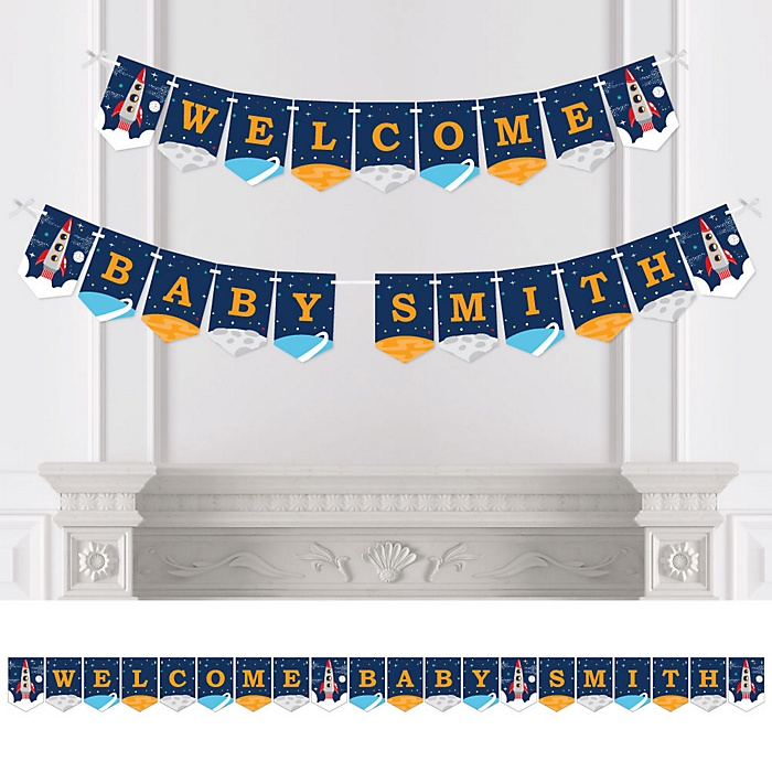Blast Off to Outer Space - Personalized Rocket Ship Baby Shower Bunting Banner and Decorations