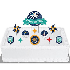 Blast Off to Outer Space - Rocket Ship Birthday Party Cake Decorating Kit - Happy Birthday Cake Topper Set - 11 Pieces