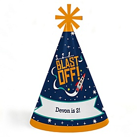 Blast Off to Outer Space - Personalized Cone Happy Birthday Party Hats for Kids and Adults - Set of 8 (Standard Size)