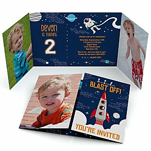 Blast Off to Outer Space - Personalized Rocket Ship Birthday Party Photo Invitations - Set of 12