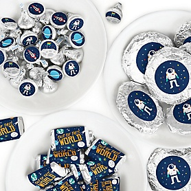 Blast Off to Outer Space - Mini Candy Bar Wrappers, Round Candy Stickers and Circle Stickers - Rocket Ship Baby Shower or Birthday Party Candy Favor Sticker Kit - 304 Pieces