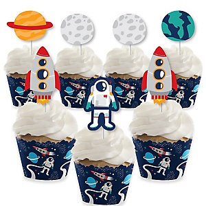 Blast Off to Outer Space - Cupcake Decoration - Rocket Ship Baby Shower or Birthday Party Cupcake Wrappers and Treat Picks Kit - Set of 24