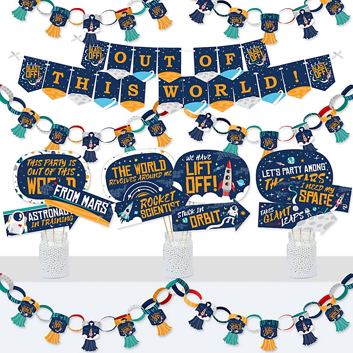 Blast Off to Outer Space - Banner and Photo Booth Decorations - Rocket Ship Baby Shower or Birthday Party Supplies Kit - Doterrific Bundle