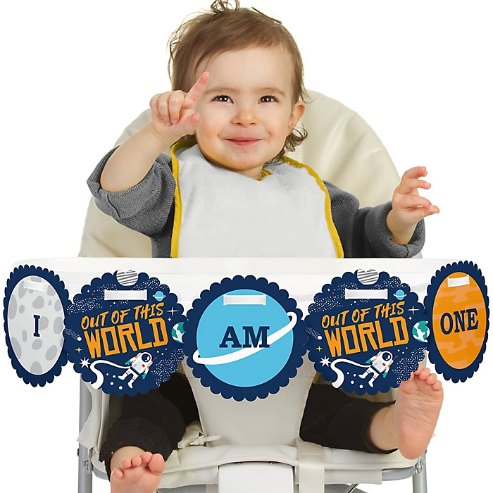 Blast Off to Outer Space 1st Birthday - I am One - First Birthday High Chair Banner