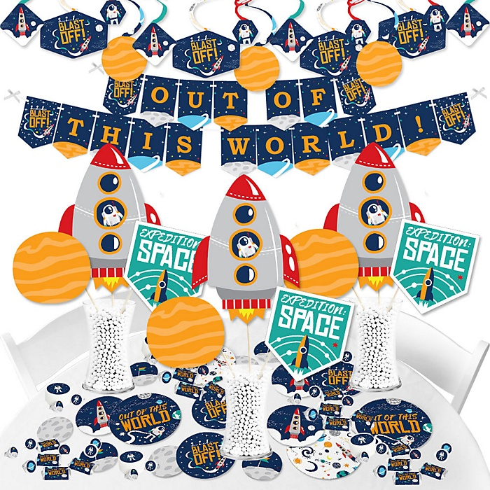 Blast Off to Outer Space - Rocket Ship Baby Shower or Birthday Party Supplies - Banner Decoration Kit - Fundle Bundle