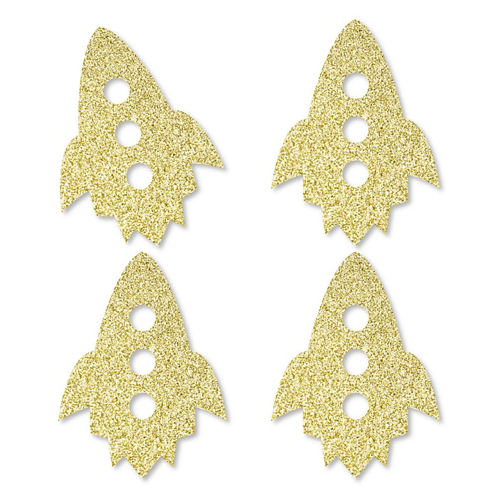 Gold Glitter Rocket Ship - No-Mess Real Gold Glitter Cut-Outs - Outer Space Baby Shower or Birthday Party Confetti - Set of 24