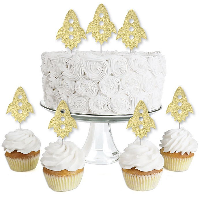 Gold Glitter Rocket Ship - No-Mess Real Gold Glitter Dessert Cupcake Toppers - Outer Space Baby Shower or Birthday Party Clear Treat Picks - Set of 24