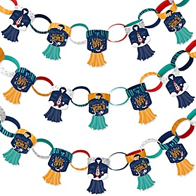 Blast Off to Outer Space - 90 Chain Links and 30 Paper Tassels Decoration Kit - Rocket Ship Baby Shower or Birthday Party Paper Chains Garland - 21 feet
