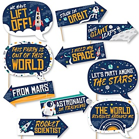 Funny Blast Off to Outer Space - 10 Piece Rocket Ship Baby Shower or Birthday Party Photo Booth Props Kit