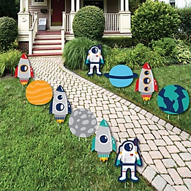 Blast Off to Outer Space - Lawn Decorations - Outdoor Rocket Ship Baby Shower or Birthday Party Yard Decorations - 10 Piece