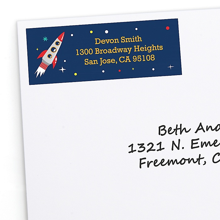 Blast Off to Outer Space - Personalized Rocket Ship Baby Shower or Birthday Party Return Address Labels - 30 ct