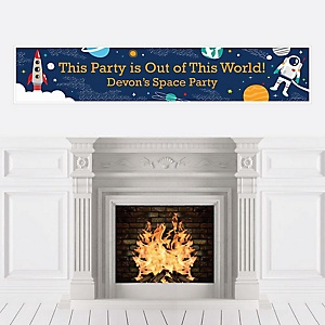 Blast Off to Outer Space - Personalized Rocket Ship Baby Shower or Birthday Party Banner