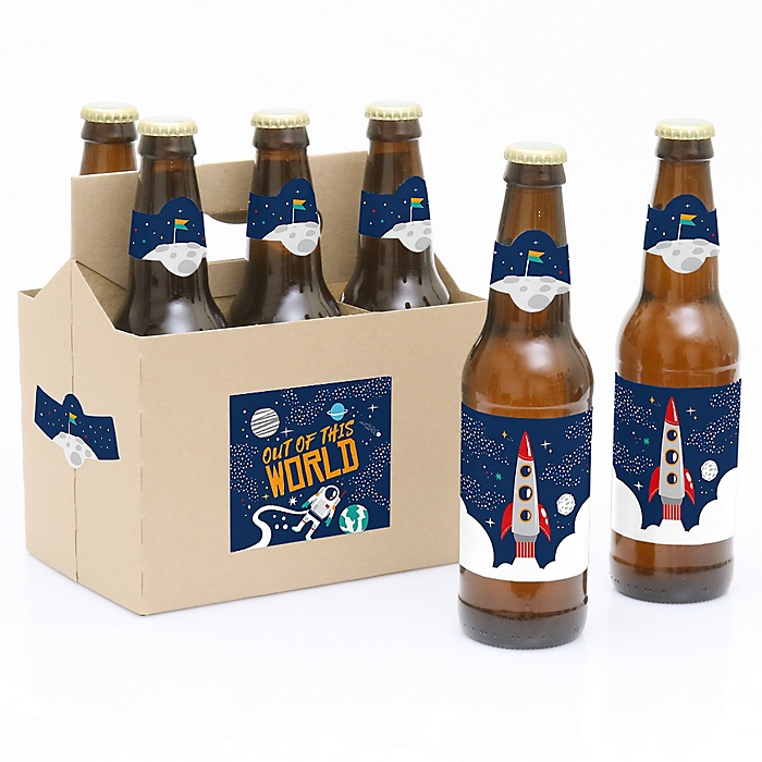 Blast Off to Outer Space - Decorations for Women and Men - 6 Rocket Ship Birthday Party Beer Bottle Label Stickers and 1 Carrier