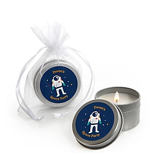 Blast Off to Outer Space - Rocket Ship - Personalized Party Candle Tin Favors - Set of 12