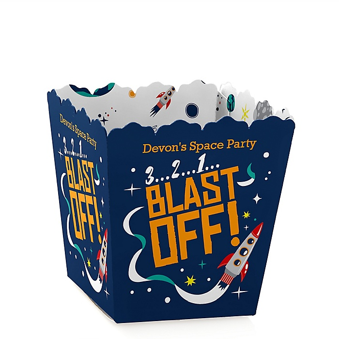 Blast Off to Outer Space - Party Mini Favor Boxes - Personalized Rocket Ship Baby Shower or Birthday Party Treat Candy Boxes - Set of 12
