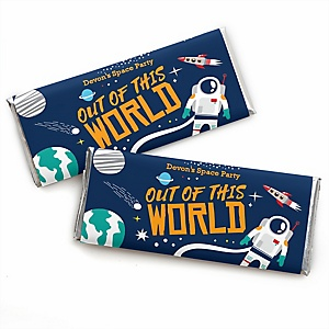 Blast Off to Outer Space - Personalized Candy Bar Wrapper Rocket Ship Baby Shower or Birthday Party Favors - Set of 24