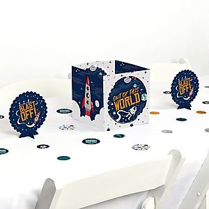 Blast Off to Outer Space - Rocket Ship Baby Shower or Birthday Party Centerpiece & Table Decoration Kit