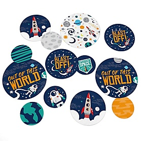 Blast Off to Outer Space - Rocket Ship Baby Shower or Birthday Party Giant Circle Confetti - Party Decorations - Large Confetti 27 Count