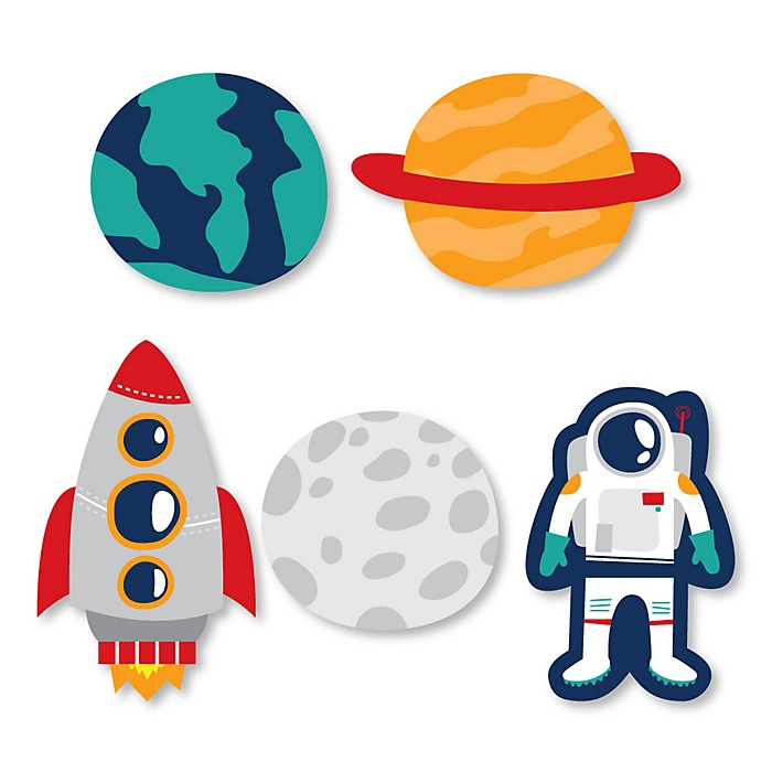 Blast Off to Outer Space - DIY Shaped Rocket Ship Baby Shower or Birthday Party Cut-Outs - 24 ct