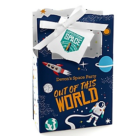 Blast Off to Outer Space - Personalized Rocket Ship Party Favor Boxes - Set of 12