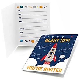Blast Off to Outer Space - Fill In  Rocket Ship Baby Shower or Birthday Party Invitations  - 8 ct