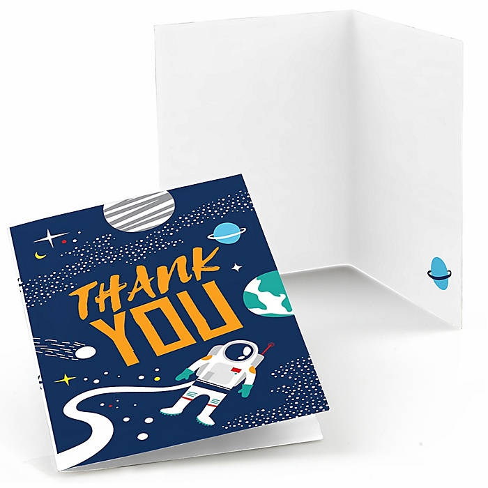 Blast Off to Outer Space - Rocket Ship Baby Shower or Birthday Party Thank You Cards  - 8 ct
