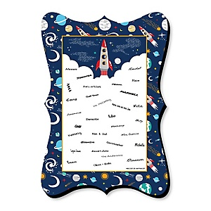 Blast Off to Outer Space - Unique Alternative Guest Book - Rocket Ship Baby Shower or Birthday Party Signature Mat