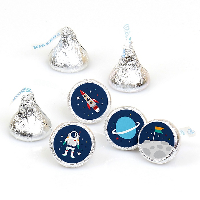 Blast Off to Outer Space - Rocket Ship Baby Shower or Birthday Party Round Candy Sticker Favors - Labels Fit Hershey's Kisses - 108 ct