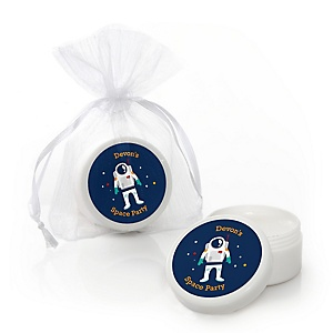 Blast Off to Outer Space - Personalized Rocket Ship Party Lip Balm Favors - Set of 12