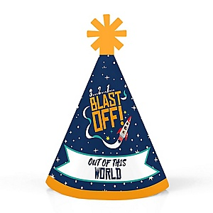 Blast Off to Outer Space - Personalized Mini Cone Rocket Ship Baby Shower or Birthday Party Hats - Small Little Party Hats - Set of 10