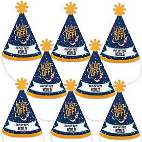 Blast Off to Outer Space - Mini Cone Rocket Ship Baby Shower or Birthday Party Hats - Small Little Party Hats - Set of 8